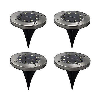 4pcs LED Solar Power Decking Lights Ground Floor Outdoor Garden Lawn Path Lamp(8LED)