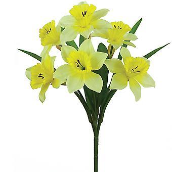 6 Yellow Fabric Daffodil Spray - Artificial Silk Flowers