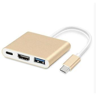 Многопортовый адаптер USB-C для док-станции USB 3.0, 4K HDMI и USB-C 3.1 (золотой)