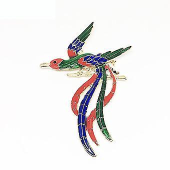 Bross pin peacock phoenix fűző festett zománc színes női bross
