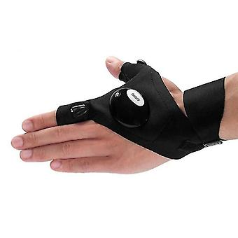 Fingerless Glove With Led Flashlight Camping Hiking Hunting Left/right Hand