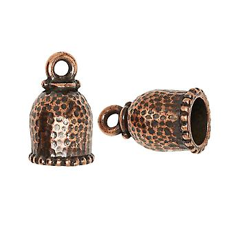 TierraCast Cord Ends, Palace Dome 18mm, Fits 8mm Cord, 2 Pieces, Antiqued Copper Plated