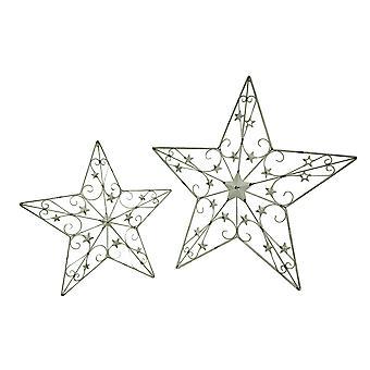 2 Piece White Rustic Cosmic Scrolls Decorative Hanging Metal Barn Star Set