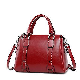 Vintage Wax Oil Genuine Leather Top-handle Shoulder Bags
