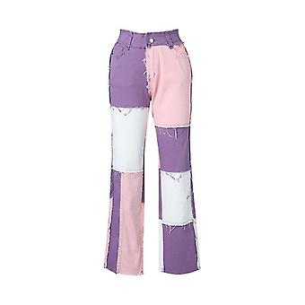 Patchwork High Waist Straight Pants
