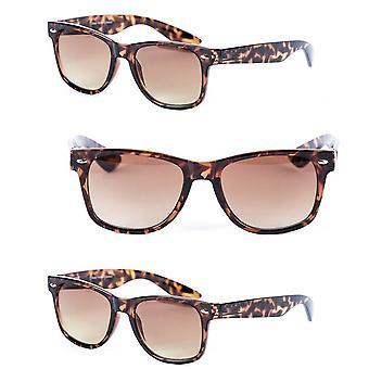3 Pair of Unisex Reading Sunglasses - Full Frame Sun Readers (non bifocal) for Women and Men - Tortoise - 3.00