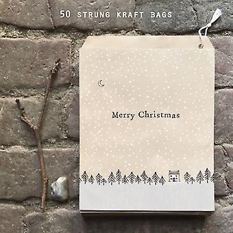 Öster om Indien påsar brunt papper gåva god jul med träd x 50