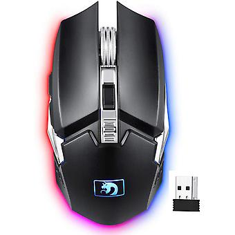 M212 Rechargeable 2.4g Wireless Mouse,4 Dpi Mode Side Buttons,4 Led Backlits,power Saving(black)