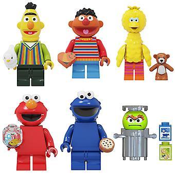 6pcs Third Party Sesame Street Big Bird Bert Elmoerni Montowane klocki Minifigure Zabawki dla dzieci