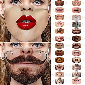 gjenbrukbar 3d trykt morsom ansiktsmaske vaskbar munndeksel pustende