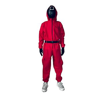 Squid Game Halloween Red Jumpsuit Cosplay Costume Halloween Party Round+ Mask