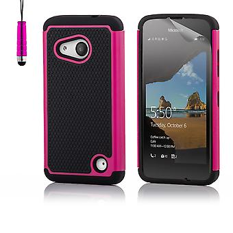 32e shock-proof case + stylus voor Microsoft Lumia 550 - Hot Pink