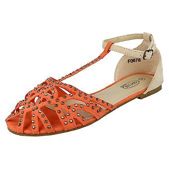 Spot On Flat T Bar Sandal Diamante Sandal
