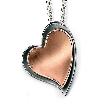 925 Silver Rose Gold Plated Heart And Oxidiser Necklace