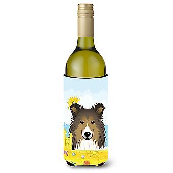 Sheltie zomer strand wijn fles drank isolator Hugger