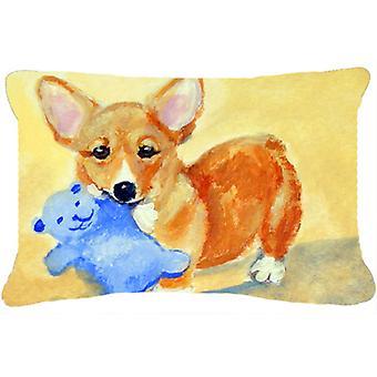 Carolines Treasures  7432PW1216 Corgi and Teddy Bear Fabric Decorative Pillow