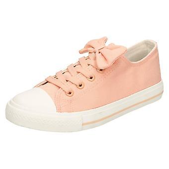 Mädchen-Spot auf flachen Schnürschuh Pumps - Pink Canvas - UK Größe 13 - EU Größe 32 - Größe 1