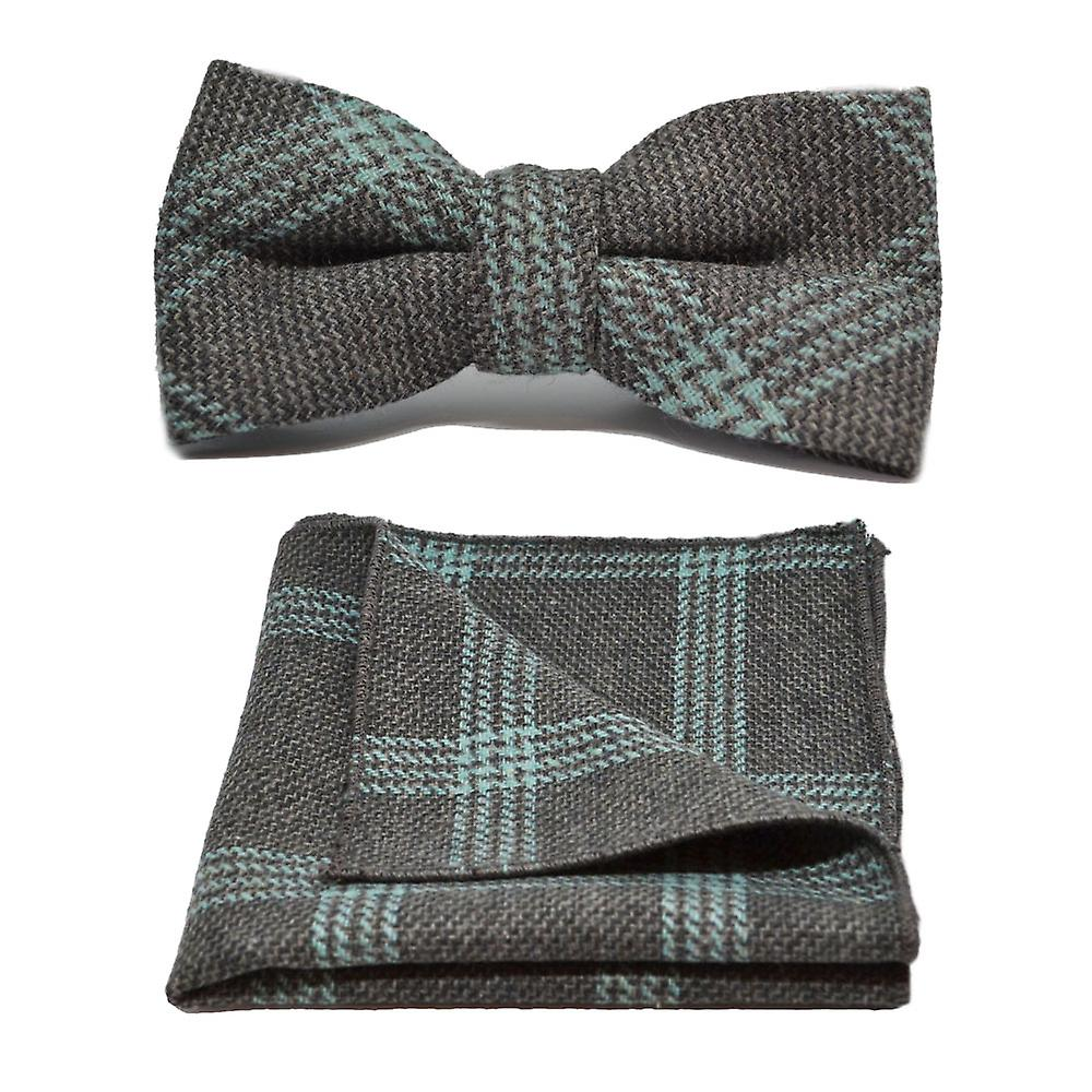 Slate Grey & Blue Birdseye Check Bow Tie & Pocket Square Set
