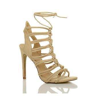 Ajvani kvinders højhælede strappy blonder op skåret ud ghillie bur sandaler sko