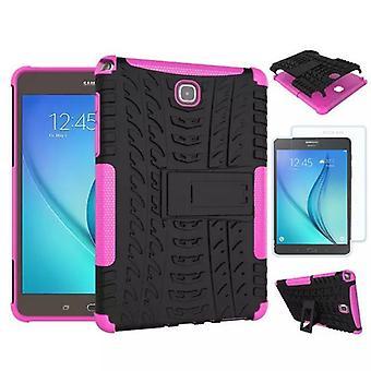 Υβριδική εξωτερική θήκη ροζ για Samsung Galaxy Tab A 9,7 T550 + 0,4 σκληρυμένο γυαλί
