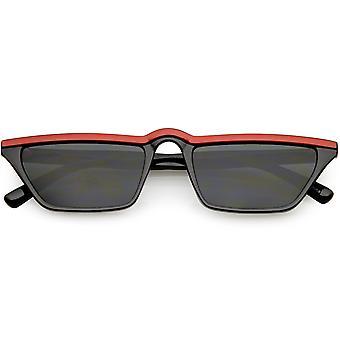 Retro slanke rechthoek Cat Eye zonnebril slanke armen neutraal gekleurde Lens 52mm