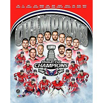 Washington Capitals 2018 NHL Stanley Cup mästarna sammansatta Photo Print