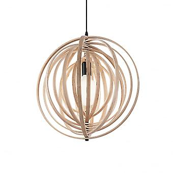 Ideal Lux Disco Modern Wood Adjustable Ring Globe Pendant