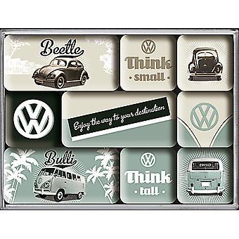 Vw Volkswagen Small & Tall Set Of 9 Mini Fridge Magnets In Box