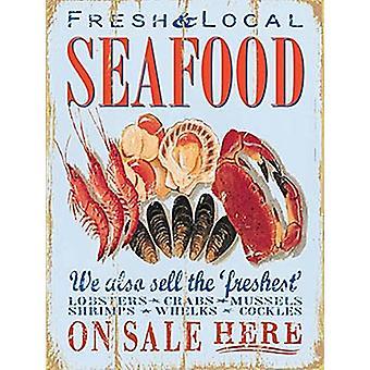 Frutos do mar frescos e locais Metal assinar 400 X 300 Mm