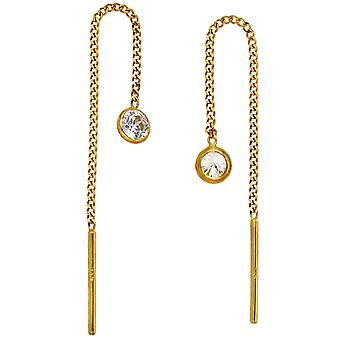 Earrings put through 333 Gold Yellow Gold 2 cubic zirconia earrings to pull through