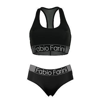 Fabio Farini sports bra set, racerback bra and matching panty in black or navy blue