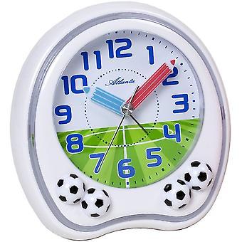 Atlanta 1719/0F vekkerklokken barna Alarmklokke hvit fotball fotball alarm clock for barn