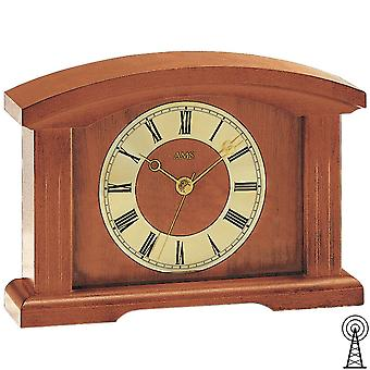 Shelf clock table clock radio cherry varnished solid wood mineral glass