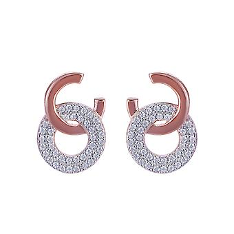 Orphelia Silver 925 Earring Rose met 2 cirkels en zirkonium - ZO-7440