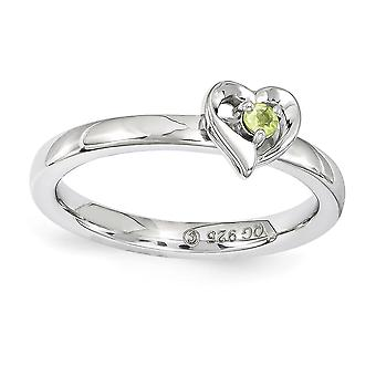 2.25mm 925 Sterling Silver Polished Prong set Rhodium-plated Stackable Expressions Peridot Heart Ring - Ring Size: 5 to