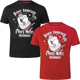 Duke D555 Mens Mistletoe Novelty Big Tall Christmas Santa Short Sleeve T-Shirt