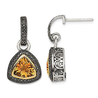4.00 Carat (ctw) Citrine Dangle Post Earrings in Sterling Silver with 14K Gold Accents