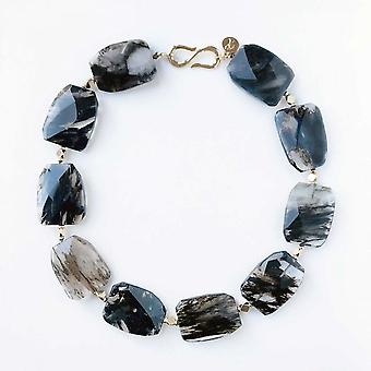 Bcharmd Black Forest Quartz Statement Necklace
