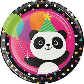 Panda part platta kartong 23 cm 8st Panda fest födelsedag dekoration