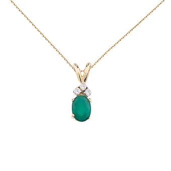 LXR 14K Yellow Gold Oval Emerald Pendant with Diamonds 0.75 ct