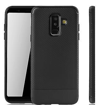 Samsung Galaxy A6 plus 2018 mobile dække Schutzcase carbon optic kofanger sort