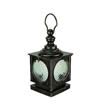 Vintage Metal and Glass Panel Square LED Candle Lantern