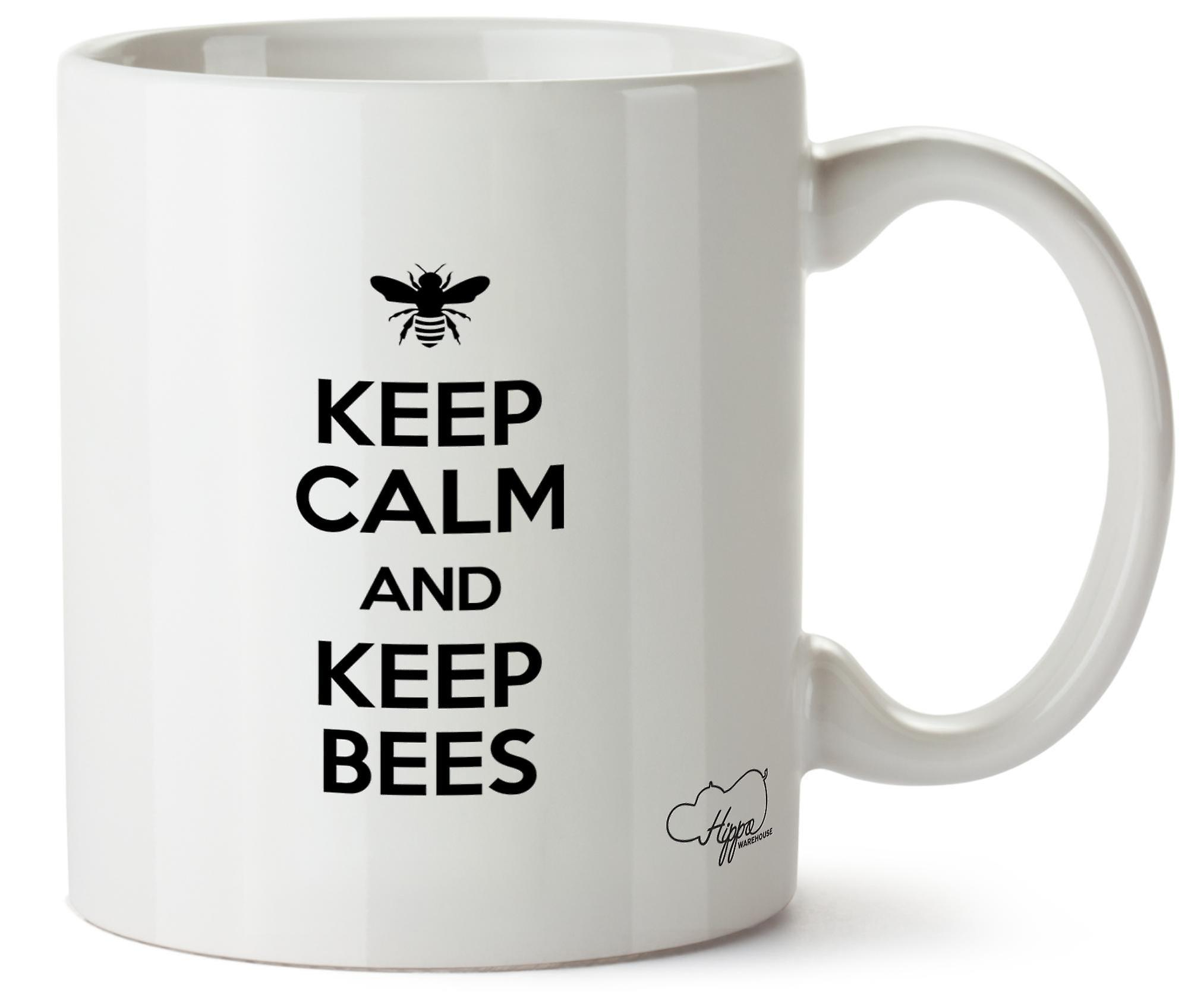 Hippowarehouse Keep Calm And Keep Bees Beekeeping Printed Mug Cup Ceramic 10oz
