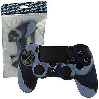 Pro Soft Silicone Protective Cover with Ribbed Handle Grip PS4 - Camo Dark Blue