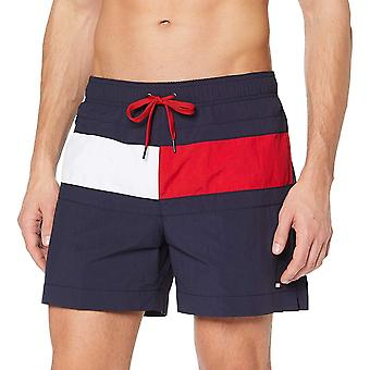 Tommy Hilfiger Colour Blocked Medium Drawstring Swim Shorts, Navy Blazer, Medium