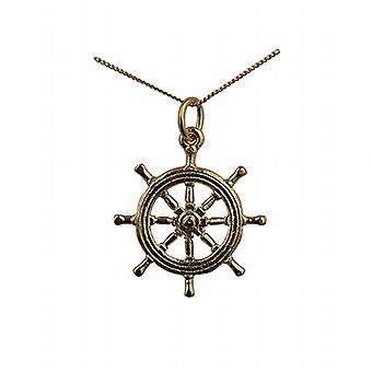 9ct Gold 21mm Ship's Wheel Pendant with a curb Chain 20 inches