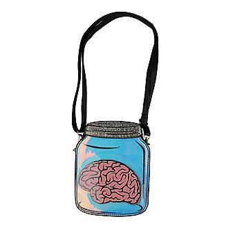 Black and Blue Brain In a Jar Crossbody Body Purse Small