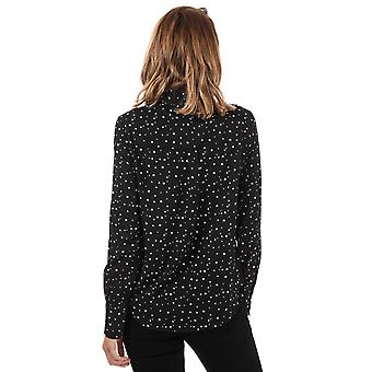 Womens Vero Moda Nicky Star Midi Shirt In Black / Snow White