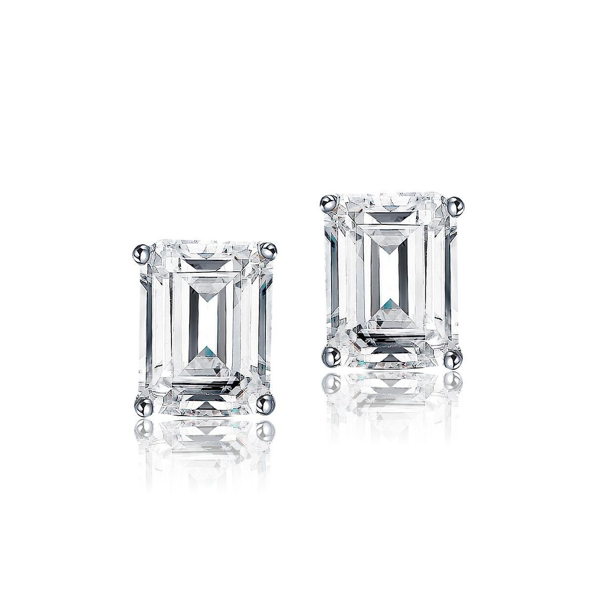 925 Sterling Silver Elegant Emerald Cut Studs