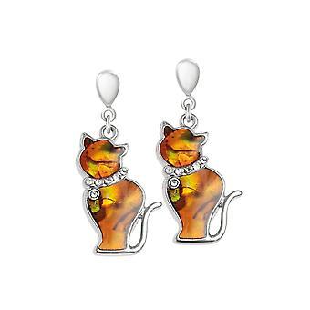 Coleção eterna Tabby laranja paua shell Silver Tone Cat drop clip em brincos